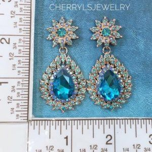 Prom Pageant Bridal Jewelry - Aqua Austrian Crystal Bridal Pageant Prom Earrings